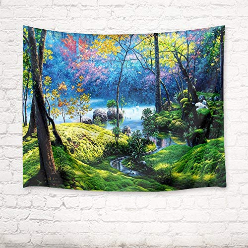 (HVEST Forest Tapestry Flower Trees and Green Plants by The River in Jungle Wall Hanging Spring Scenery Tapestries for Bedroom Living Room Dorm Wall Decor Birthday Party Backdrop,80Wx60H inches)