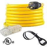 25 Feet Heavy Duty Generator Extension Cord,Generator Locking Cord,NEMA L5-30P/Three 5-15R, 3 Prong 10 Gauge Flexible…
