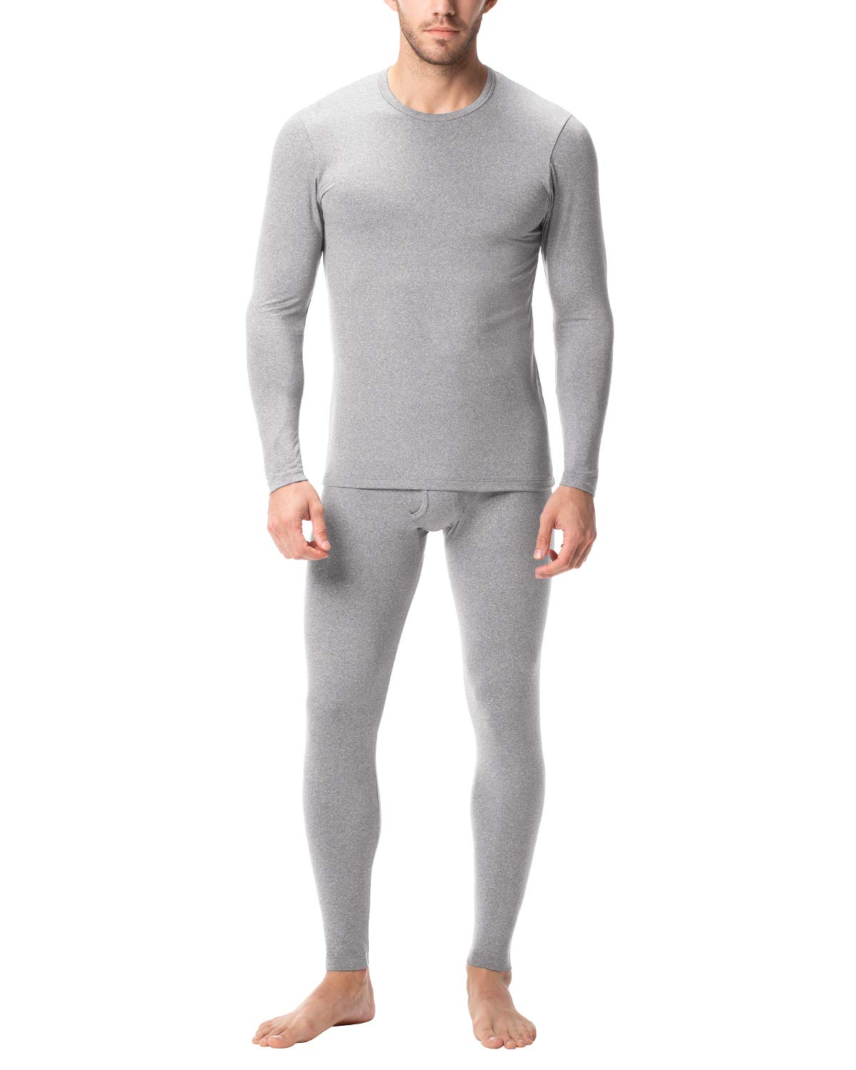 LAPASA Men's Thermal Underwear Long John Set Fleece Lined Base Layer Top and Bottom M11 (Small, Midweight Grey) by LAPASA