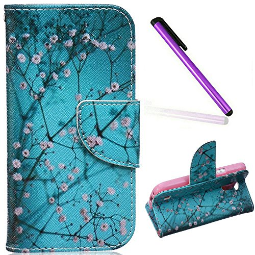 S4 Mini Case, Galaxy S4 Mini Case, EMAXELER PU Leather Wallet Flip Protective Skin Case with Magnetic Closure for Samsung Galaxy S4 Mini i9190 (Built-in Credit Card/ID Card Slot)--Almond Tree (Owl Galaxy Mini Samsung Case 4)