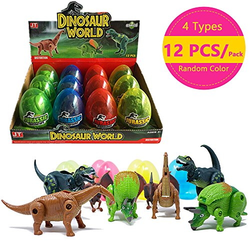 COFFLED 12 Pcs Different Hatching Eggs Dinosaur Toys for 3+ Year Old Kids,Magic Egg That Hatch Dinosaurs Toy for Boy Girl Dino Fans,Deformation T-rex,Pterosaurs,Brachiosaurus,Triceratops (1 Pack)