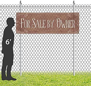 for Sale by Owner Victorian Card Wind-Resistant Outdoor Mesh Vinyl Banner 12x4 CGSignLab