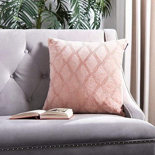 Safavieh Collection Diana Diamond 18 Square Throw Pillow, Blush