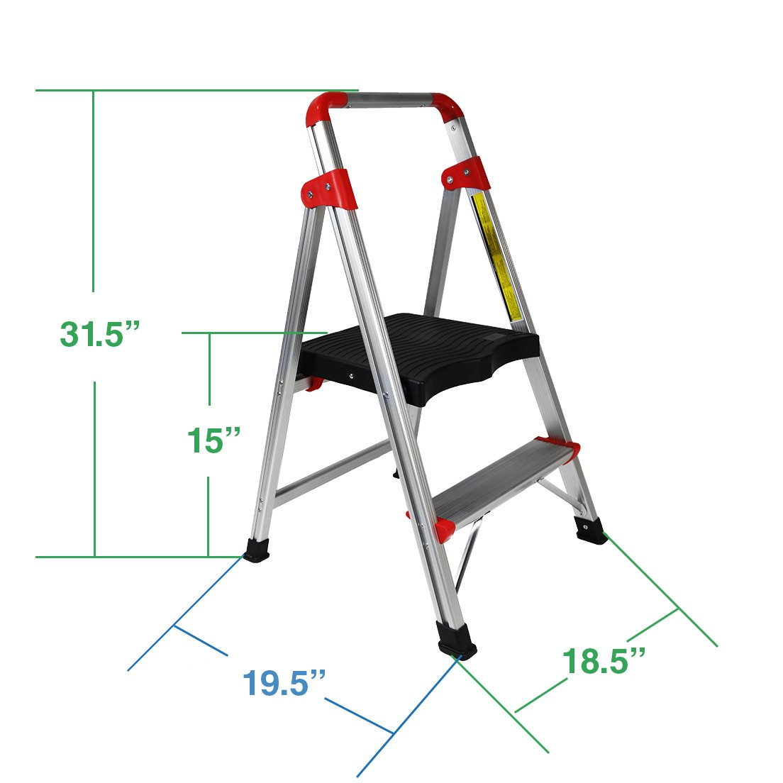 Clevr 2 Step Aluminum Ladder 33'' Non-slip Platform Lightweight Folding Stool, 230 lbs. Capacity
