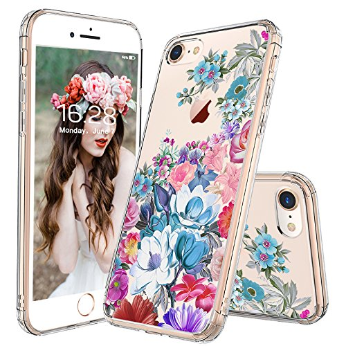 iPhone 7 Case, iPhone 8 Case, MOSNOVO Floral Flower Garden Pattern Printed Clear Design Transparent Plastic Back Case with TPU Bumper Protective Case Cover for iPhone 7 / iPhone - Floral Flower Garden