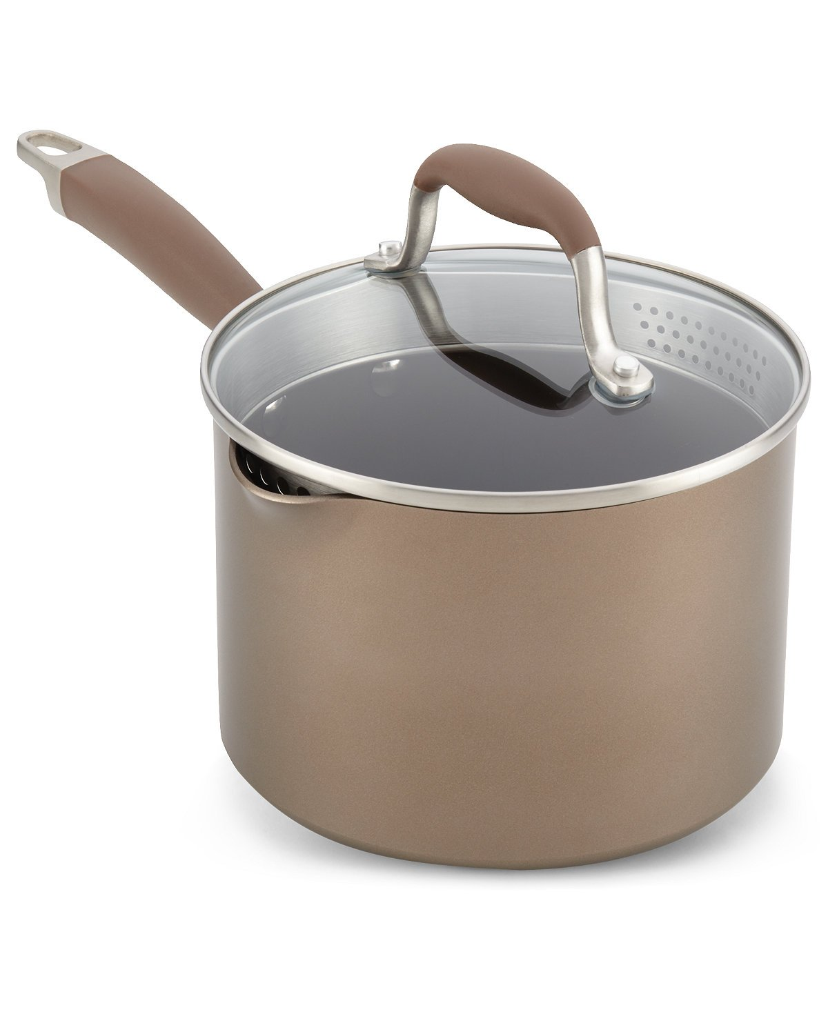 Anolon 84068 Nonstick Cookware Covered Straining Saucepan, Small, Bronze