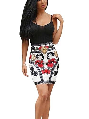 Wuxh Women's Sexy Sleeveless Bodycon Printing Midi Club Dress