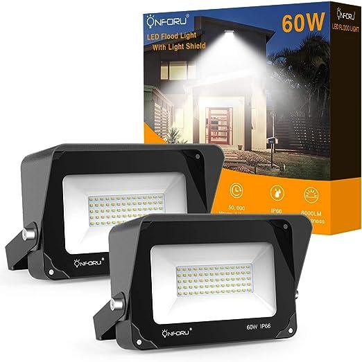 Onforu 60W Foco LED Exterior con Parasol (2 Pack), 6000LM Super ...