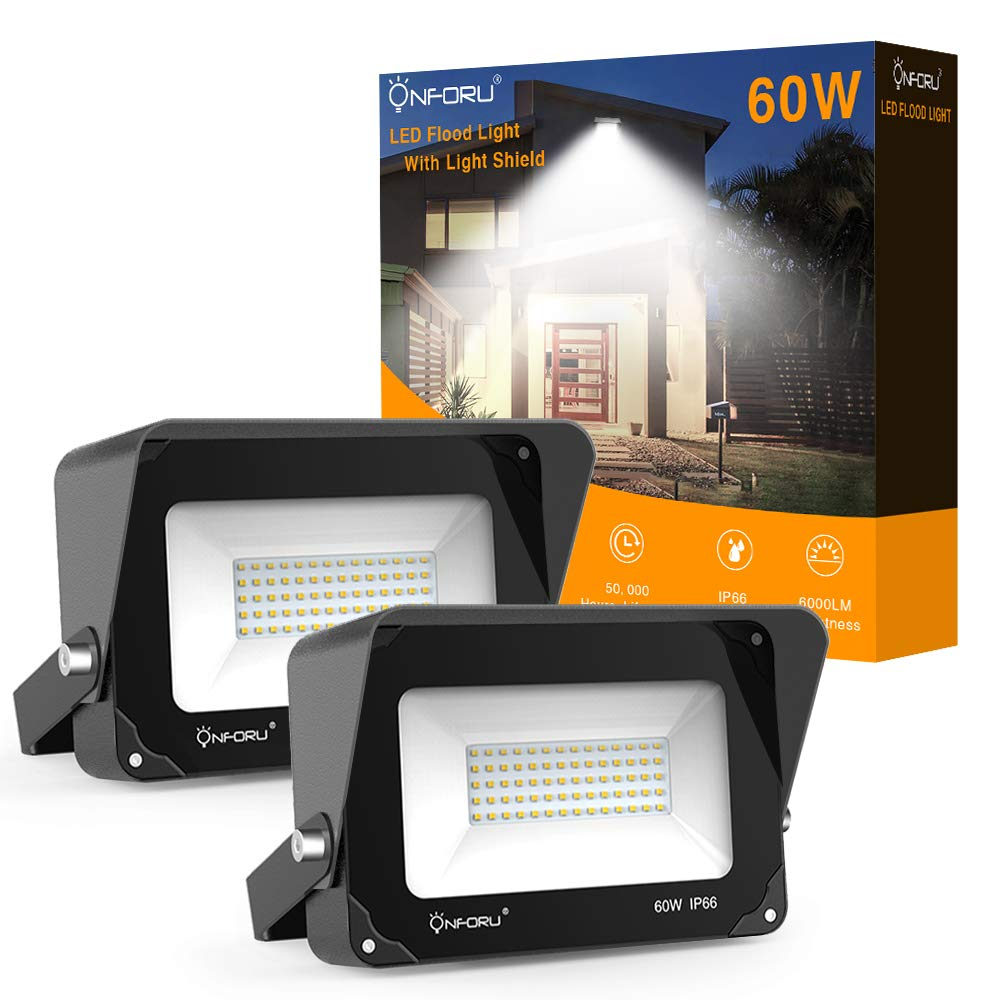 Onforu 2 Pack 60W LED Flood Light with Light Shield Playground Garden 6000lm Super Bright Security Lights 5000K Daylight White Patio IP66 Waterproof Outdoor Landscape Floodlight for Yard