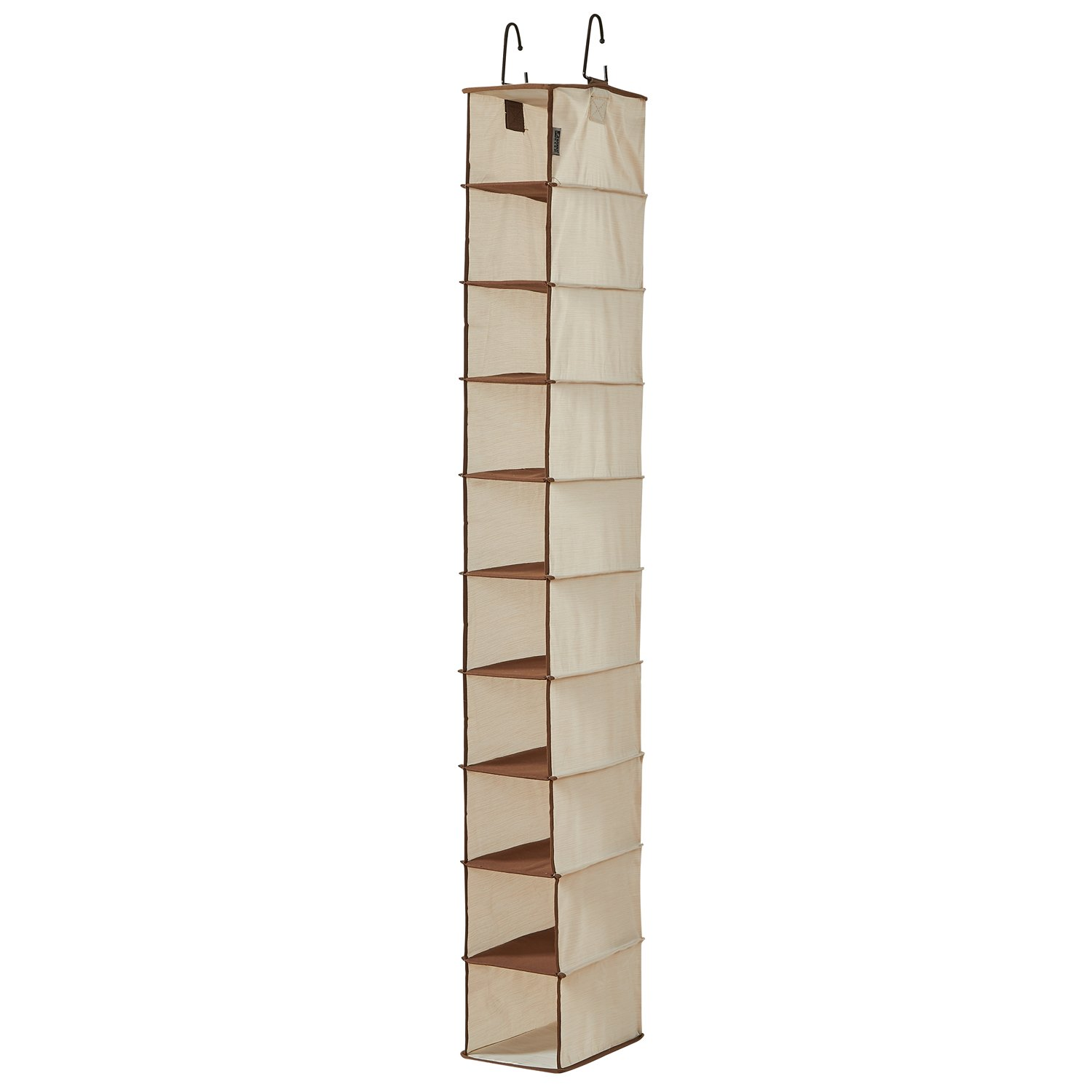 WANNAKEEP 10 Shelf Hanging Shoe Organizer, Shoe Holder Closet, 10 Mesh Pockets Accessories, Breathable Polyester Cotton, 5.5x11x54 inches Beige