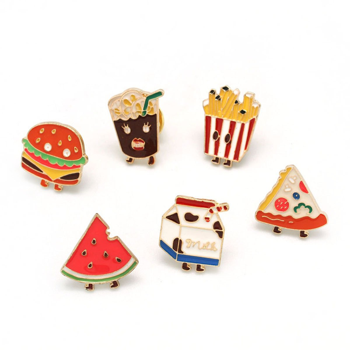 MeliMe Cute Animal Floral Fruits Enamel Brooch Pins Cartoon Lapel Pins Lovely Badge for Women Kids Clothing Decoration (Fast food style set of 6)
