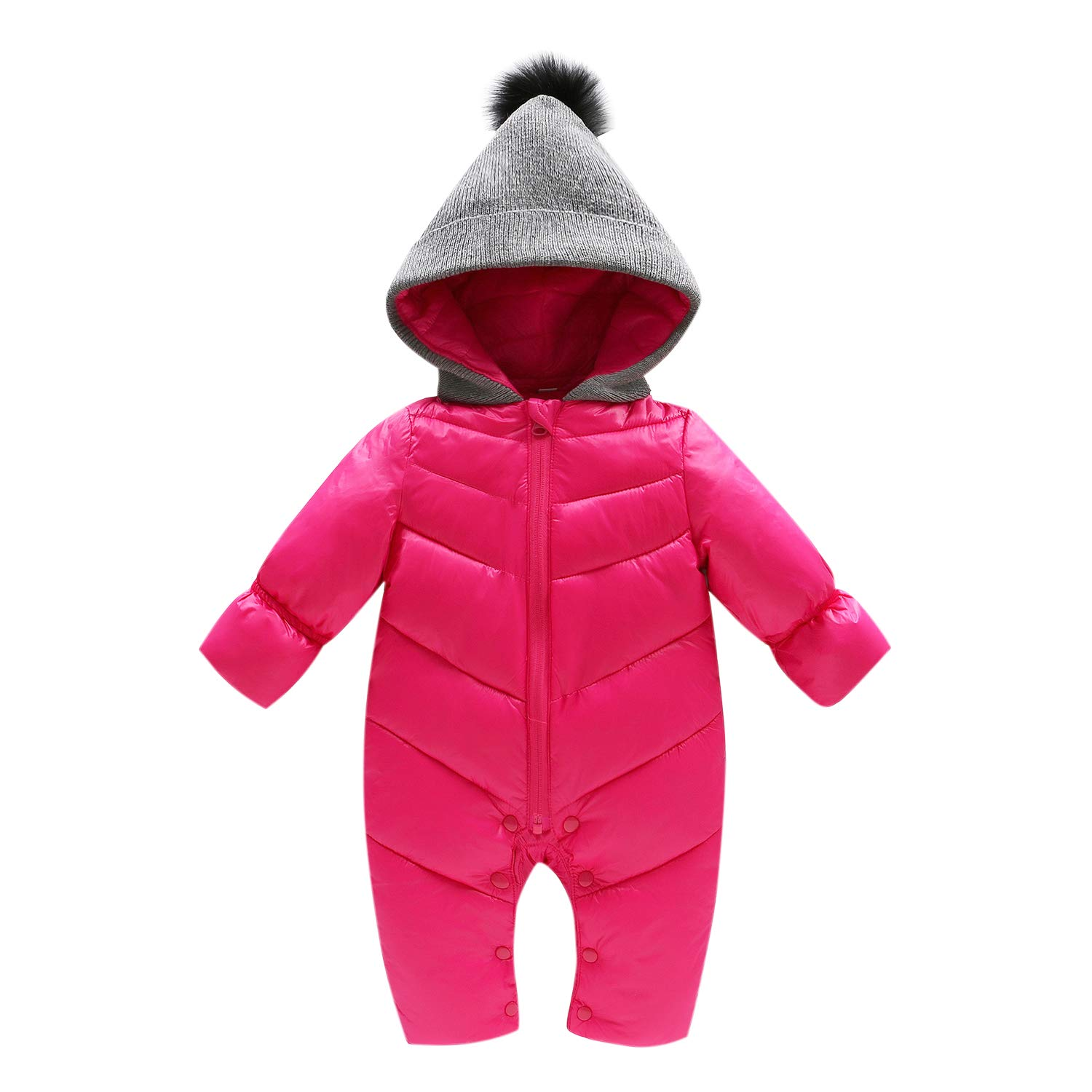 Evelin LEE Baby Girls Boys Puffer Down Jackets One Piece Cable Hood Snowsuit Jumpsuit 05BFA0421-ZL