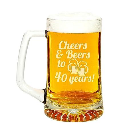 Amazon.com: Cheers & Cervezas a 40 años grabado Vaso Cerveza ...