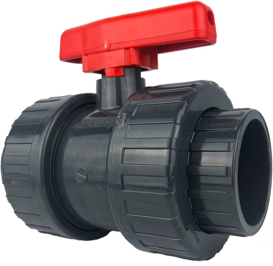 50 mm poign/ée Rouge well2wellness PVC Robinet Vanne /à Boisseau sph/érique avec 2 connexions