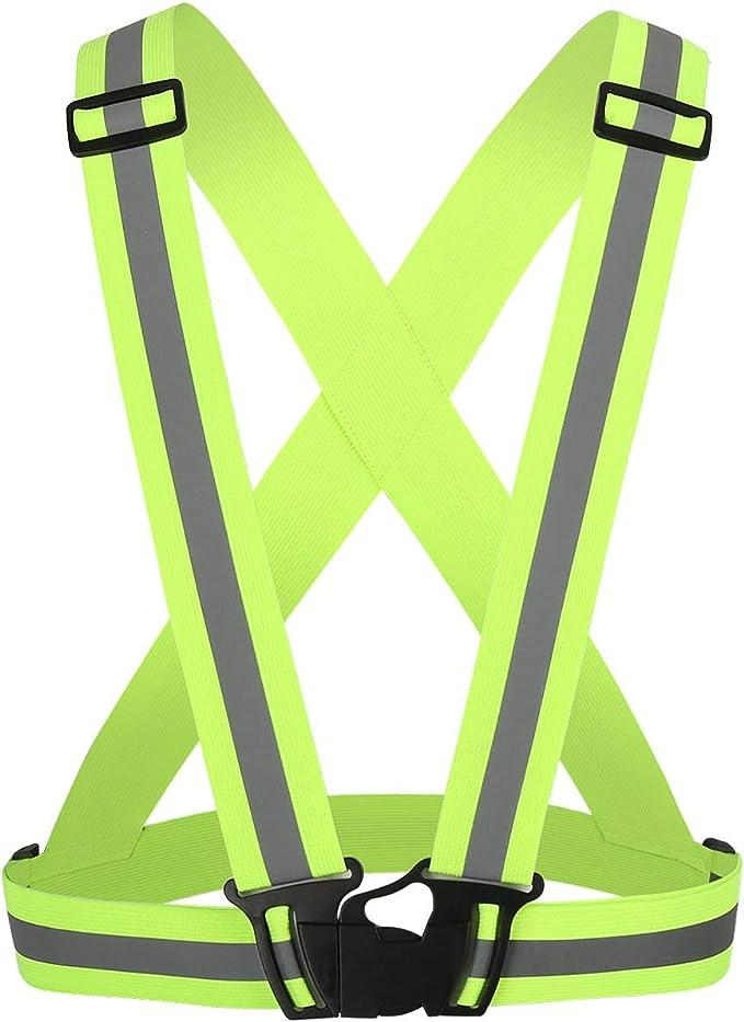 Jogging Adjustable Elastic Belt Bike Riding Hiking BOROLA 2 Pack Backpack Reflective Belt Safety Belt for Running Waist Belt Cycling Walking Horse Riding
