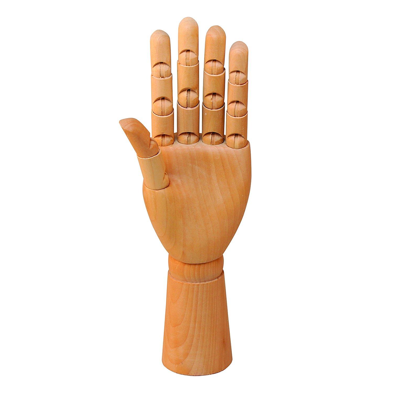 Wooden Left Hand Manikin Male - Sectioned Full Hand Artist Mannequin - Yazycraft by YazyCraft