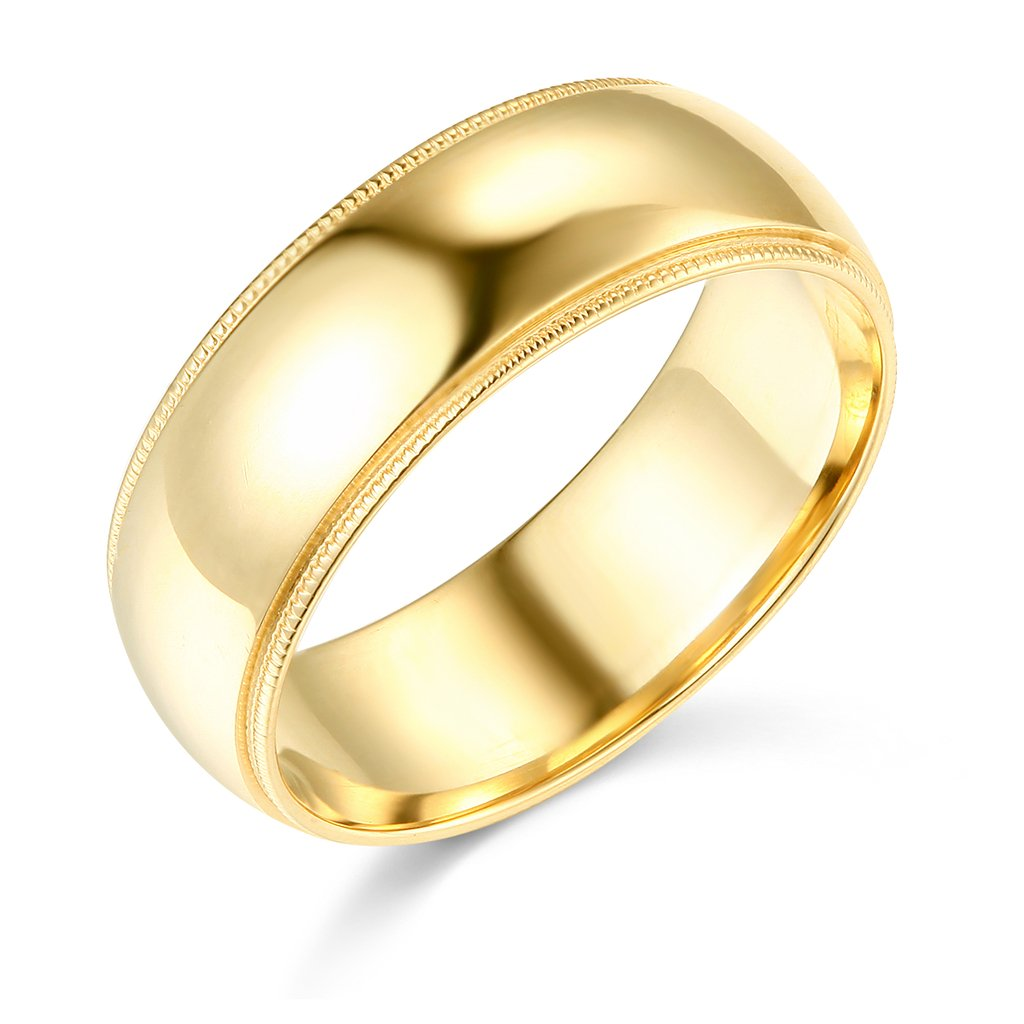 14k Yellow Gold 7mm Comfort FIT Plain Milgrain Wedding Band - Size 5
