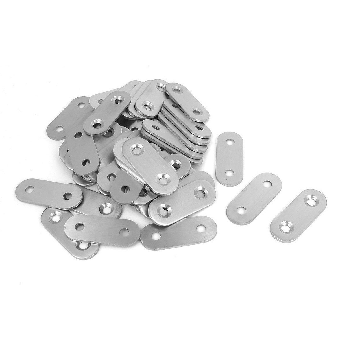 YXQ 50Pcs 2 Holes Flat Corner Brace Plate Bracket 1.6'' x 0.6'' x 2mm Metal Stainless Steel Repair Fixing Joining