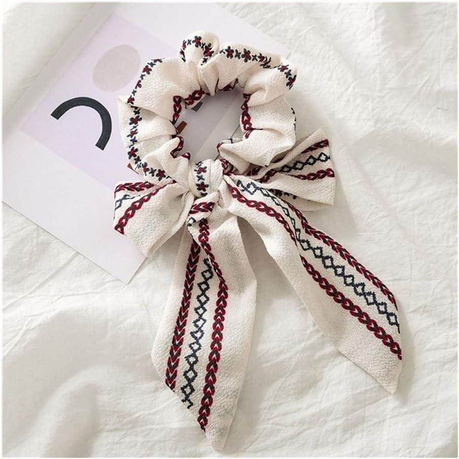 Anillo nueva del arco grande del pelo del Bowknot de las flámulas Scrunchies Con perla impresión de la flor del pelo de la cola de caballo corbata Sombreros Accesorios for el cabello Cintas para el pe