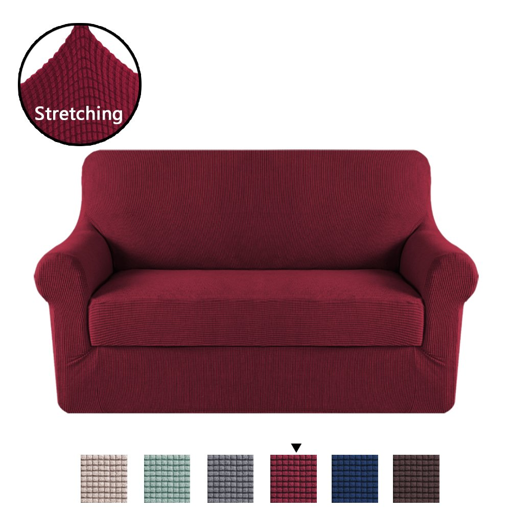 H.VERSAILTEX High Stretch 2 Piece Furniture Protector Sofa Cover for Loveseat, Durable Spandex Stretch Fabric Super Soft Slipcover- Burgundy, 2 Seater Loveseat