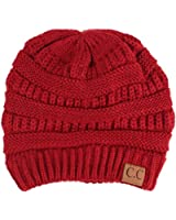 Unisex Winter Chunky Soft Stretch Cable Knit Slouch Beanie Skully Hat Cap Wine