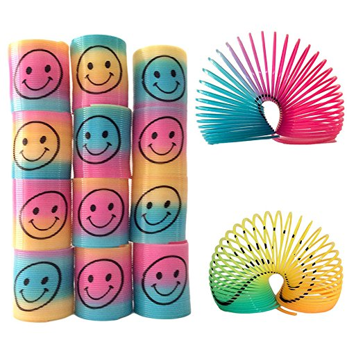 Smiley Face Springs Rainbow Smile Face Spring Party Bag Fillers Toy ()