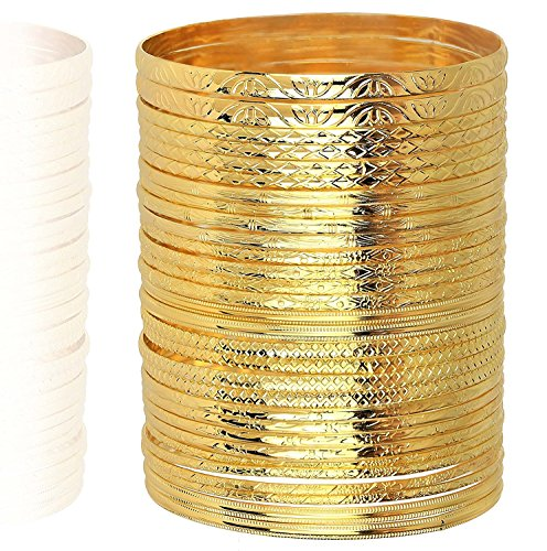 Lux Accessories Gold Textured Multi Bangle Set (30 PC)