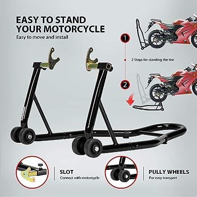 TRIL GEAR Universal Sport Bike Motorcycle Front /& Rear Combo Wheel Lift Stand Swingarm Paddock Fork Stands