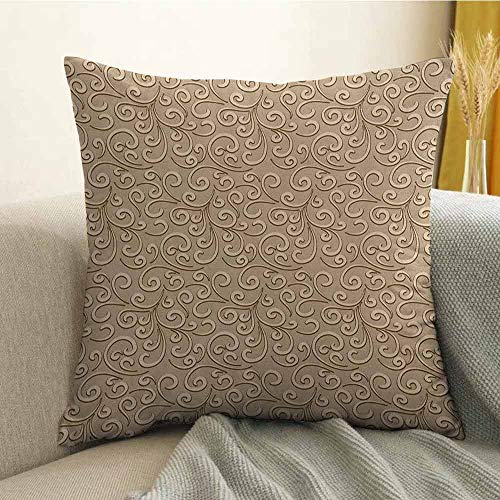 Beige Bedding Soft Pillowcase Floral Swirls Damask Pattern Classic Victorian Style in Retro Antique Background Hypoallergenic Pillowcase W16 x L24 Inch French Beige