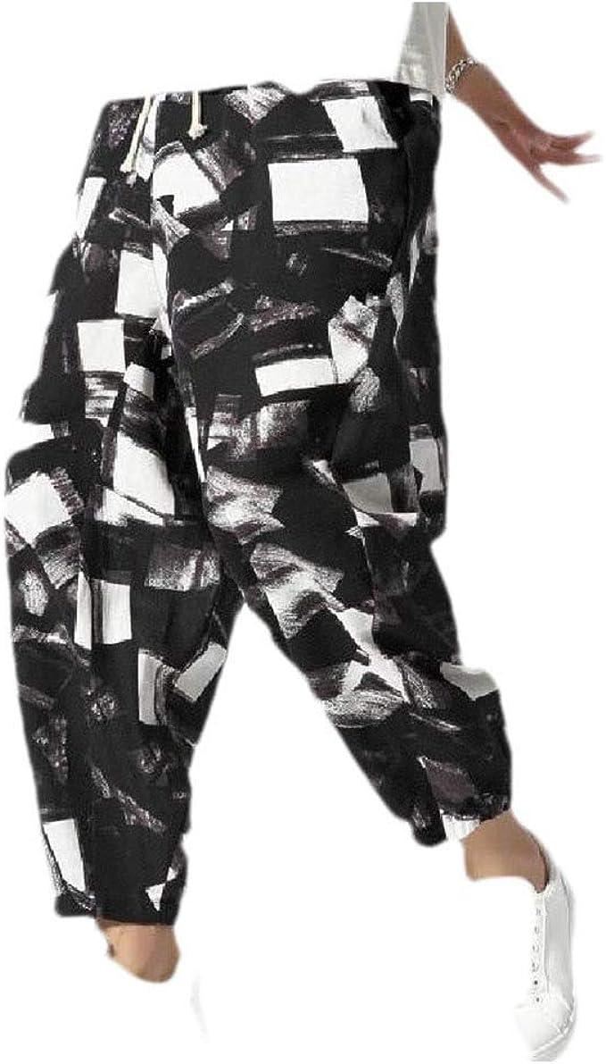 EnergyWD Men's Plus-size Linen Floral Print Harem Drawstring Casual Long Pant