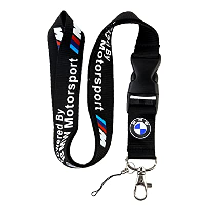 BMW Motosport Logo Keychain Key Chain Black Lanyard Clip with Webbing Strap Quick Release Buckle: Automotive