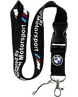 BMW Motosport Logo Keychain Key Chain Black Lanyard Clip with Webbing Strap Quick Release Buckle