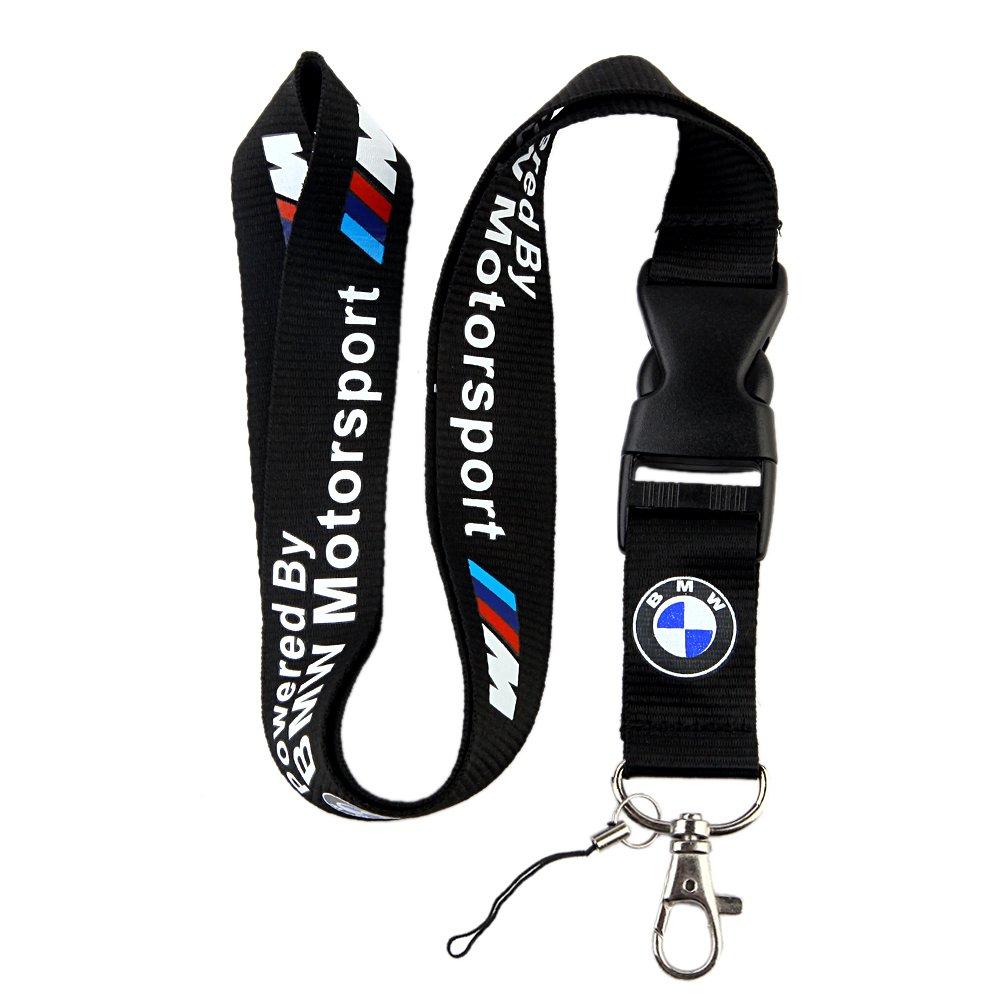 BMW Motosport Logo Keychain Key Chain Black Lanyard Clip