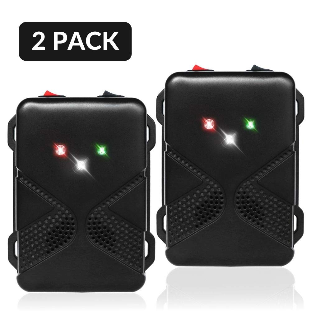 Loraffe Pack of 2 LED Rodent Strobe Light Battery Operated Ultrasound Device Keep Rats Mice Away from Your Car Engine Truck Garage Attic Basement Warehouse Barn Shed Under Hood Vehicle Protection by Loraffe