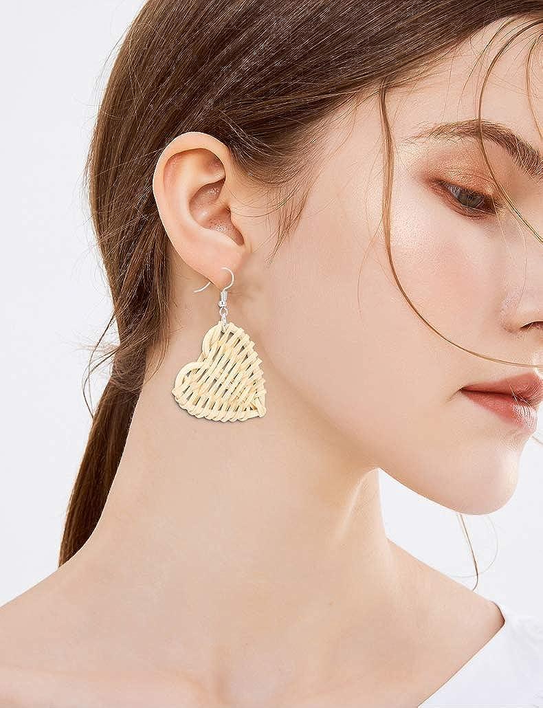 TEAMER Fashion Rattan earrings Heart Shaped Circle Wooden Woven Vine Asymmetry Dangle Earrings Jewelry for Women Girls