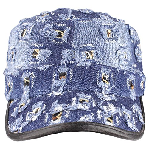 Distressed Denim Cadet-Style Hat with Leopard Print by bogo Brands (Denim)
