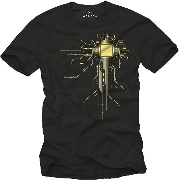 Makaya T-Shirt Geek Noir Homme Gamer CPU