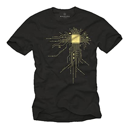 MAKAYA Regalo Friki - Camiseta para Hombre Negra - CPU - Talla S: Amazon.es: Ropa y accesorios