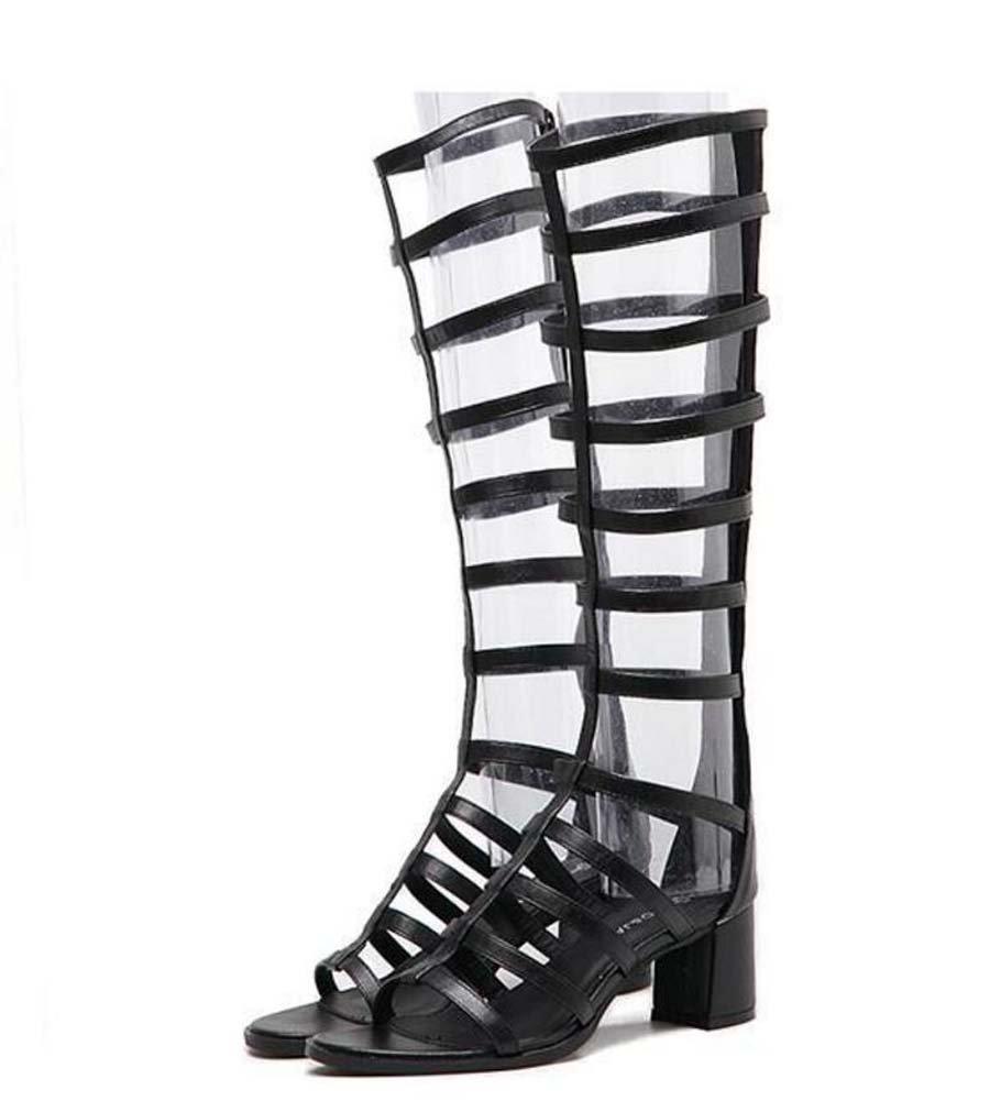 Zapatos de mujer de verano con sandalias romanas de tacón alto y tacón alto MHX