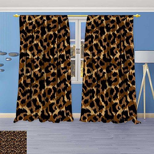 SOCOMIMI Design Print Grommet top Thermal Insulated leopardvector Print Wallpaper Background Texture Linen Room Darkening Curtains 108W x 72L inch ()