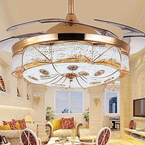 Huston Fan European Luxury Style Invisible Ceiling Fan Living Room Restaurant Bedroom Ceiling Light Chandelier Home Energy Chandelier Fan Saving LED Gold (36inch) by Huston Fan (Image #1)