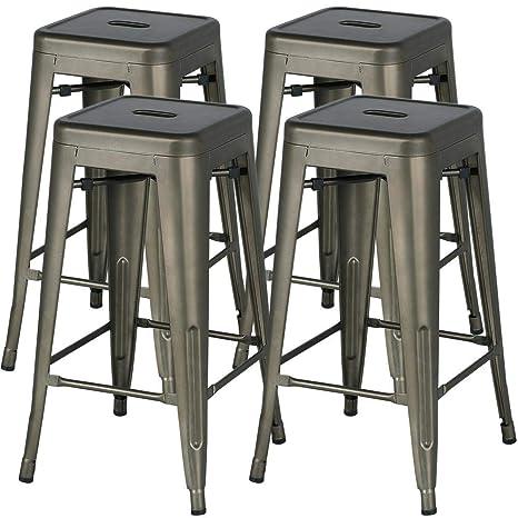 Fine Yaheetech 30 Inches Metal Bar Stools High Backless Bar Height Stools Stackable Chairs Set Of 4 Metal Inzonedesignstudio Interior Chair Design Inzonedesignstudiocom
