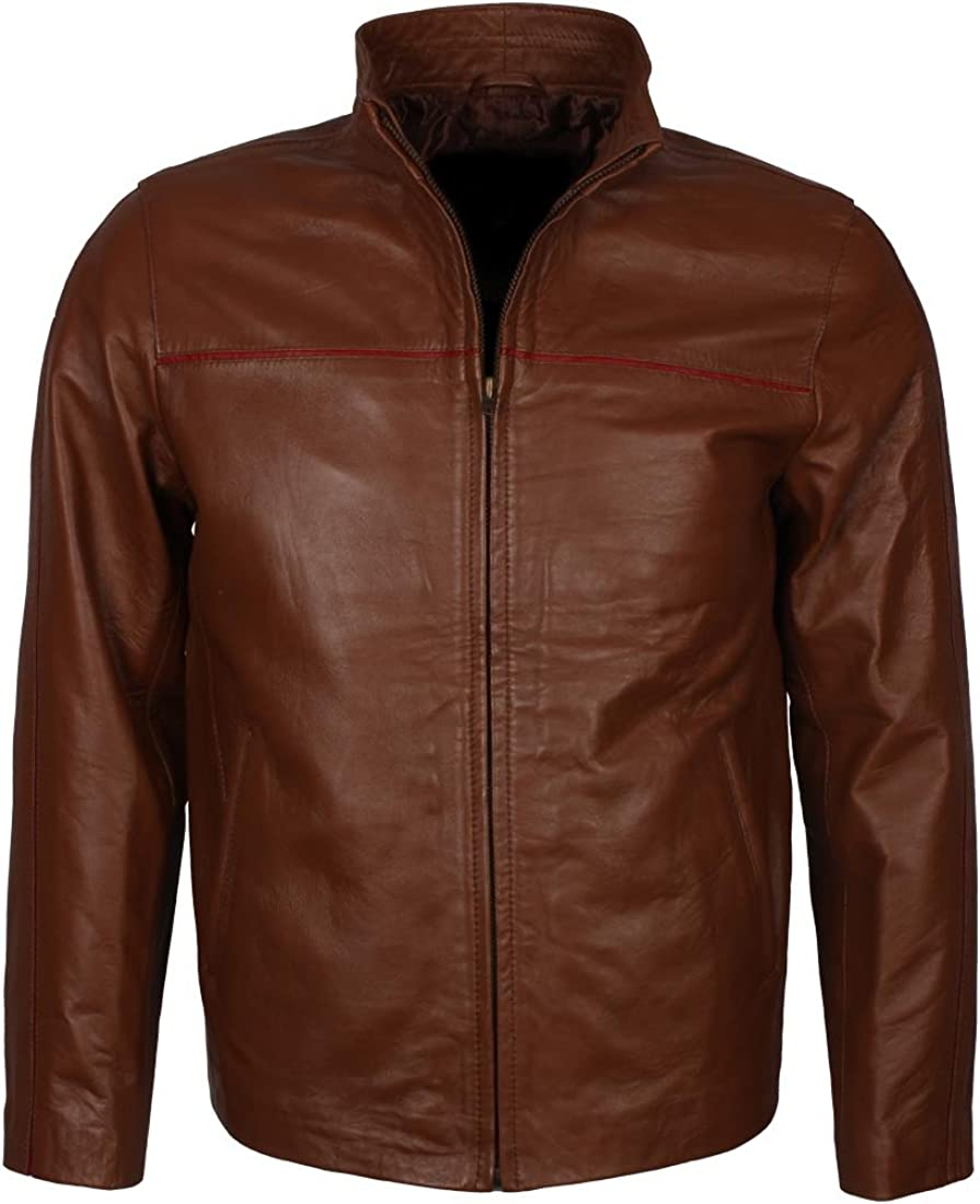 Cafe Racer Real Lambskin Leather Distressed William Jacket Mens Stylish Casual Brown Genuine Leather Jacket