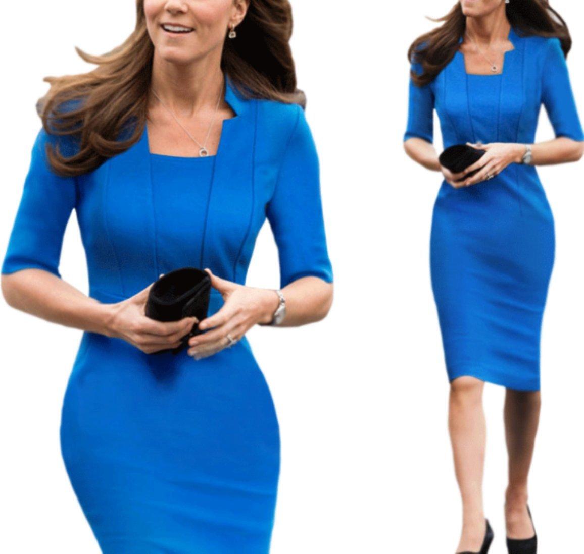 Unomatch Kate Middleton Wrinkle Based Top Collar Neck Knee Length Dress Blue (Blue, Large)