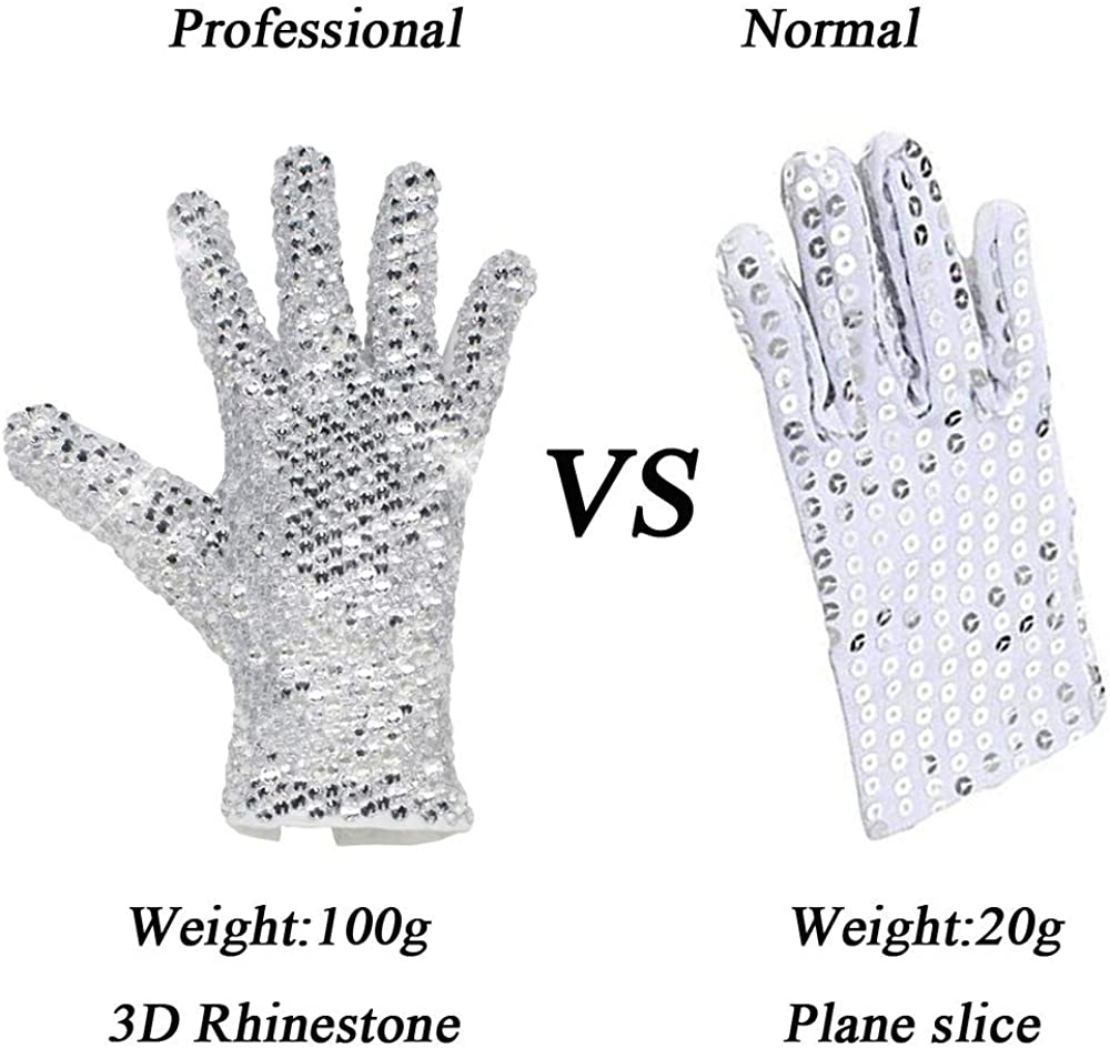 Handmade MJ Michael Jackson Crystal Handmade 100/% Glove Billie Jean Both Side