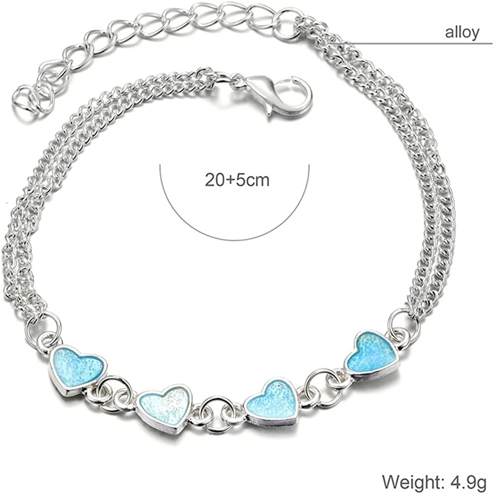 FENICAL Alloy Tassel Anklets Blue Noctilucent Heart Beads Bracelets Foot Chain Anklets Women Jewelry Silver
