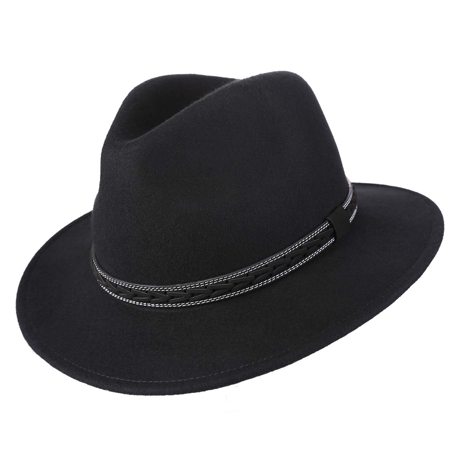25701545d5af1 Janetshats Unisex Classic Fedora Hats Wool Felt Trilby Hat with Bowknot  Feather Black at Amazon Men s Clothing store