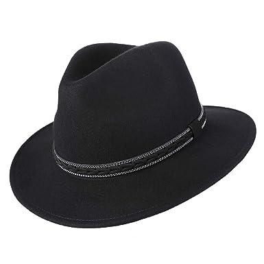 0f0c713e6b415b Janetshats Felting Wool Men Felt Fedora Wide Brim Fedora Hats Black
