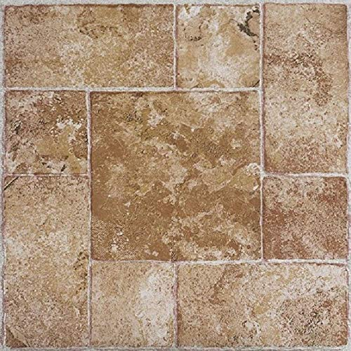 (PrimeHome Collection Madison Beige Terracotta 12x12 Self Adhesive Vinyl Floor Tile - 20 Tiles/20 sq. ft.)