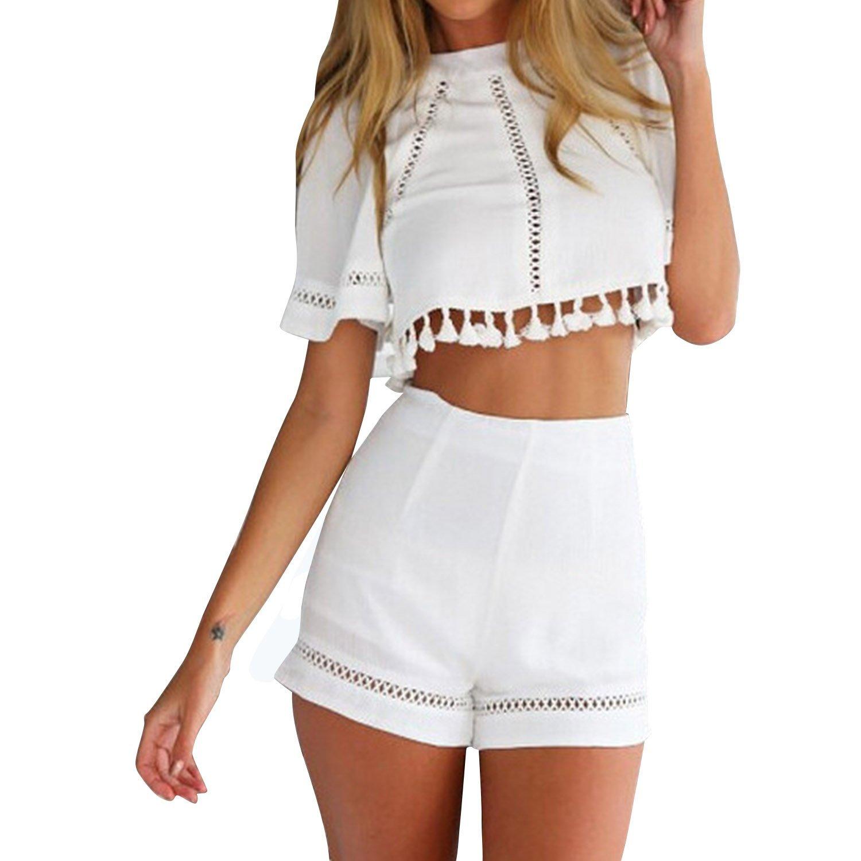 SUNNOW® Kurzarm Damen Top Shorts Anzug Set zweiteilig Stitching Rückenfrei Jumpsuit Hohl Oberteil + Hose Sommer